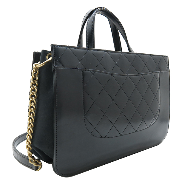 Chanel(샤넬) A91865 16SS 컬렉션 카프스킨 블랙 레더 금장 COCO로고 장식 2WAY [인천점] 이미지4 - 고이비토 중고명품