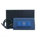 Prada(프라다) 1M1437 금장 로고 네이비 컬러 블루 리본 장식 사피아노 롱월릿 크로스백 [부산센텀본점]