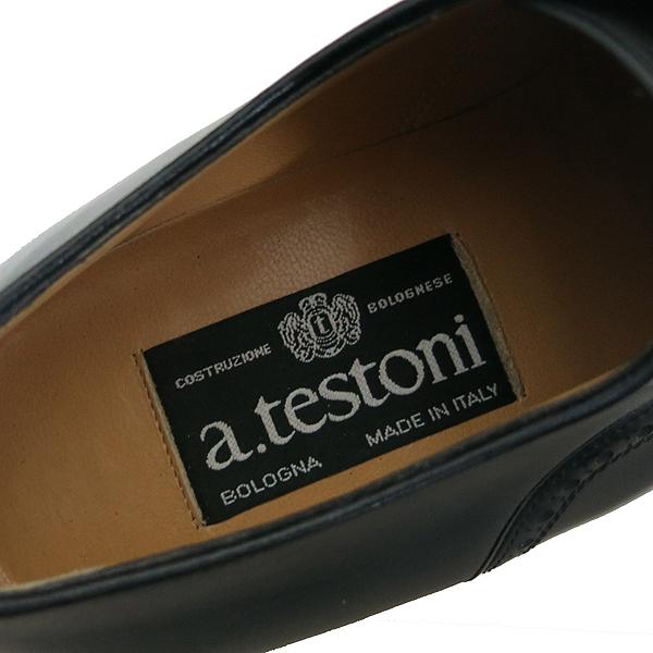 A.testoni(테스토니) 블랙 레더 스트레이트 팁 남성용 구두 [부산센텀본점]