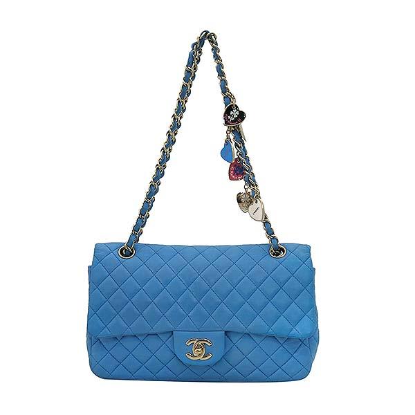 Chanel(샤넬) A46514 시즌 한정판 클래식라인 블루 컬러 발렌타인 램스킨 금장체인 숄더백 [부산센텀본점]