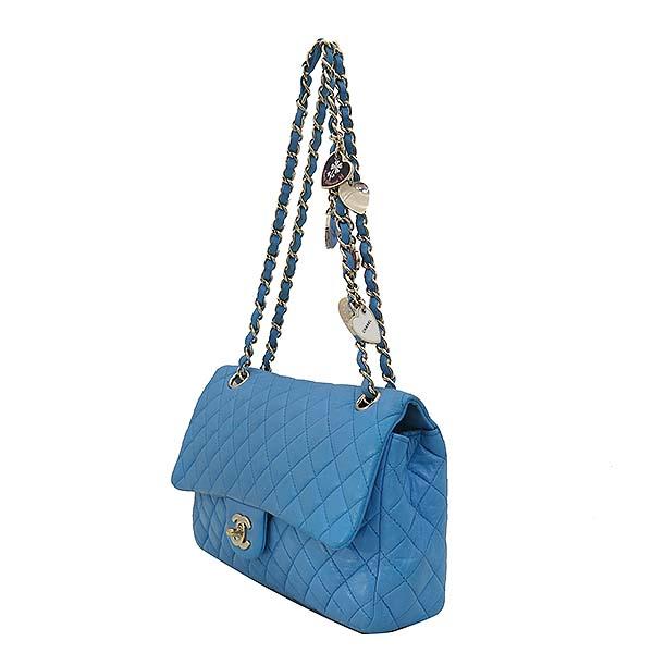 Chanel(샤넬) A46514 시즌 한정판 클래식라인 블루 컬러 발렌타인 램스킨 금장체인 숄더백 [부산센텀본점] 이미지2 - 고이비토 중고명품