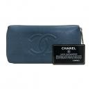 Chanel(샤넬) COCO 로고 블루 캐비어스킨 집업 장지갑 [부산센텀본점]