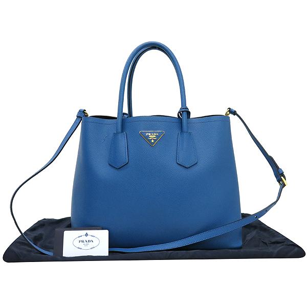 Prada(프라다) B2756T 삼각 로고 장식 블루 컬러 사피아노 레더 두블레 토트백 + 숄더스트랩 [강남본점]