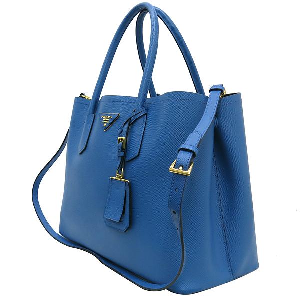 Prada(프라다) B2756T 삼각 로고 장식 블루 컬러 사피아노 레더 두블레 토트백 + 숄더스트랩 [강남본점] 이미지3 - 고이비토 중고명품