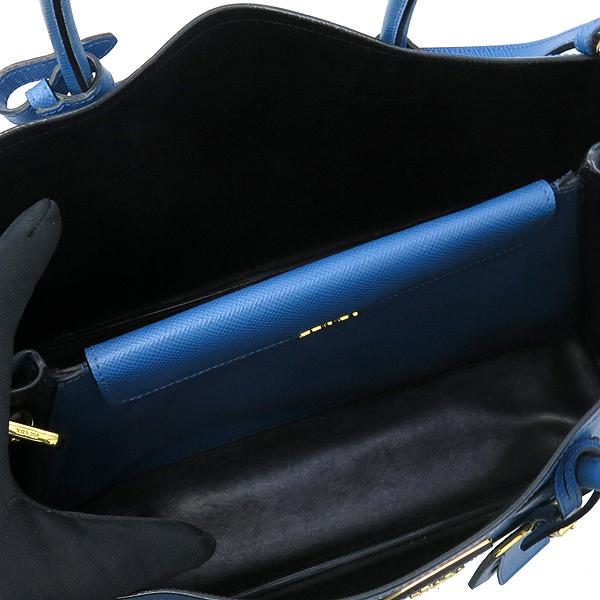 Prada(프라다) B2756T 삼각 로고 장식 블루 컬러 사피아노 레더 두블레 토트백 + 숄더스트랩 [강남본점] 이미지7 - 고이비토 중고명품