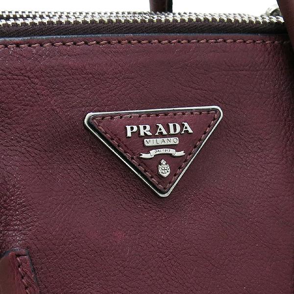 Prada(프라다) BN2619 GRACE CALF 그레이스 카프 와인 은장 로고 투 짚업 2WAY [강남본점] 이미지4 - 고이비토 중고명품