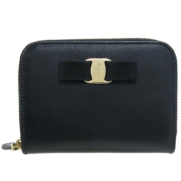 Ferragamo(페라가모) 22 C770 바라 장식 블랙 사피아노 집업 카드지갑 겸 명함지갑 [강남본점] 이미지2 - 고이비토 중고명품