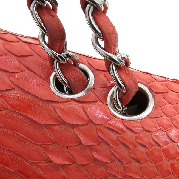 Chanel(샤넬) 파이톤 뱀피 레더 오렌지 컬러 클래식 점보 사이즈 은장 체인 숄더백 [강남본점] 이미지5 - 고이비토 중고명품