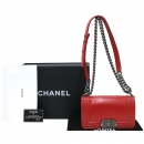 Chanel(샤넬) A67085 레드오렌지컬러 레더 BOY CHANEL 보이샤넬 스몰 미니 은장메탈 체인 플랩 숄더백 [강남본점]