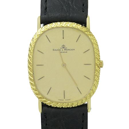 Baume&Mercier(보메메르시에) 18K(750) 골드 금통 라운드 가죽밴드 남여공용 시계