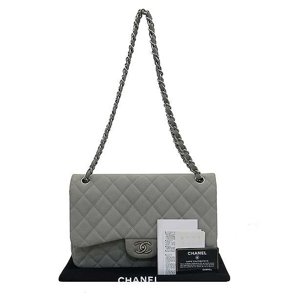 Chanel(샤넬) A58600 소프트 캐비어스킨 라이트 그레이 컬러 클래식 점보 은장 체인 숄더백 [부산센텀본점]