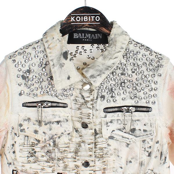 Balmain(발망) BM1B314B41 클립 장식 화이트 컬러 여성용 데님 자켓 [강남본점] 이미지2 - 고이비토 중고명품