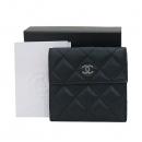 Chanel(샤넬) 은장 COCO로고 블랙 램스킨 퀼팅 2단 반지갑 [부산센텀본점]