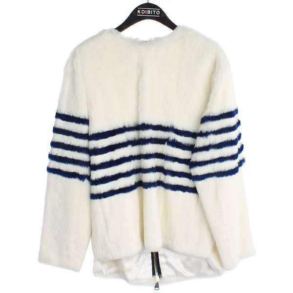 BYTE(바이트) Giuliana teso 100% 래빗 퍼 스트라이프 포인트 여성용 자켓 [강남본점]