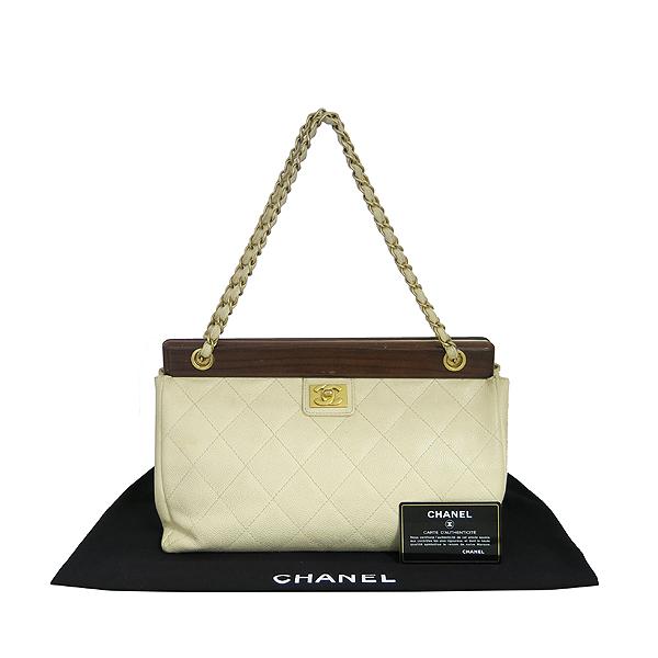 Chanel(샤넬) 아이보리 캐비어스킨 우드 장식 체인 숄더백 [동대문점]