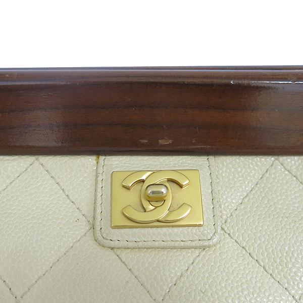 Chanel(샤넬) 아이보리 캐비어스킨 우드 장식 체인 숄더백 [동대문점] 이미지4 - 고이비토 중고명품