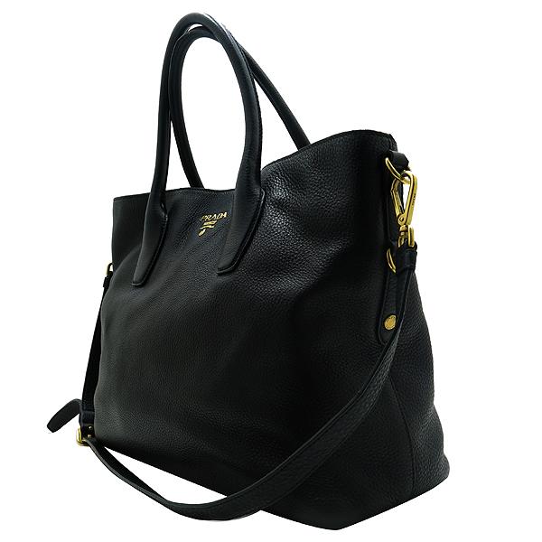 Prada(프라다) BN2317 금장 로고 장식 블랙 레더 토트백 + 숄더 스트랩 [인천점] 이미지3 - 고이비토 중고명품