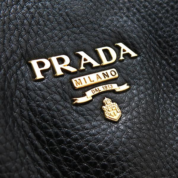 Prada(프라다) BN2317 금장 로고 장식 블랙 레더 토트백 + 숄더 스트랩 [인천점] 이미지5 - 고이비토 중고명품