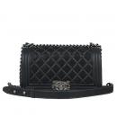 Chanel(샤넬) COCO로고 블랙 스웨이드 램스킨 빈티지 미디움 보이백[광주1]
