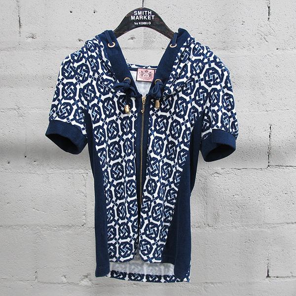 JUICY COUTURE (쥬시꾸뛰르) 면 혼방 네이비 패턴 여성용 반팔 후드 짚업 자켓 [동대문점]