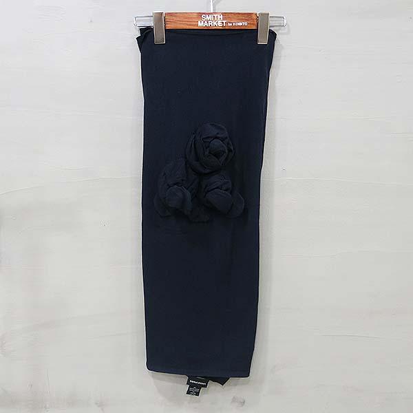 SONIARYKIEL (소니아니켈) 비사코사 혼방 네이비 컬러 꽃 코사주 스카프 [부산센텀본점]