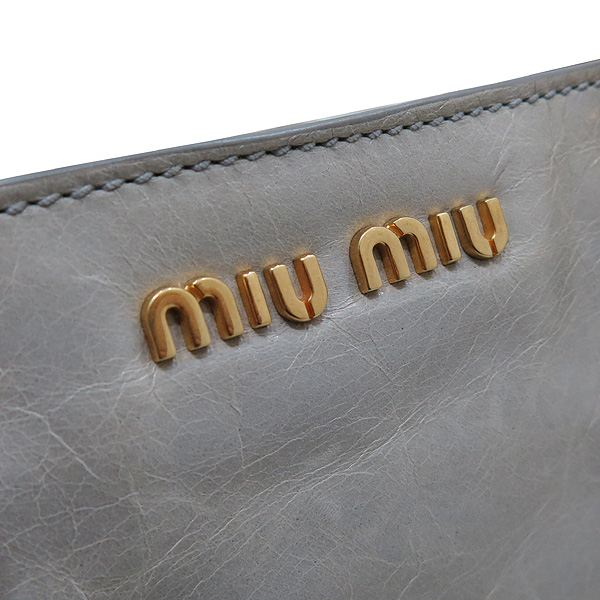 MiuMiu(미우미우) RN1037 그레이 레더 비텔로 샤인 은장 로고 토트백 + 숄더스트랩 [인천점] 이미지5 - 고이비토 중고명품