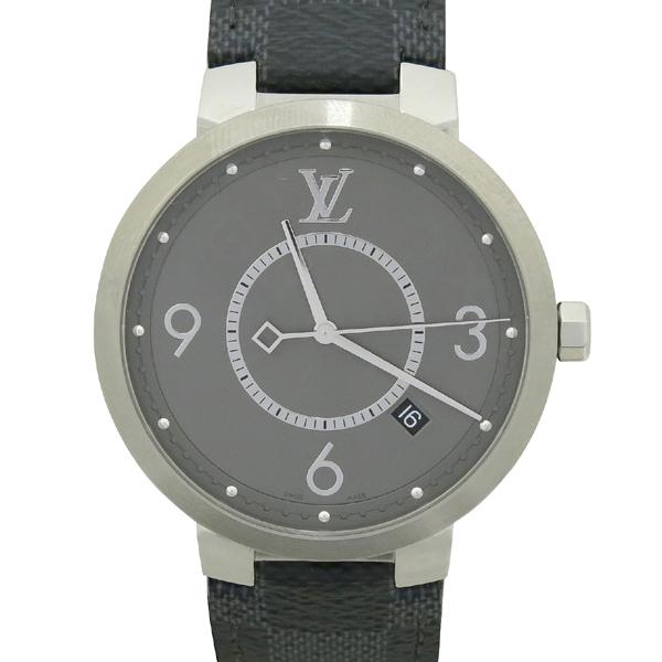 Louis Vuitton(루이비통) Q1DM0 땅부르 슬림 모노그램 이클립스 39 가죽 밴드 남성용 시계 [강남본점]