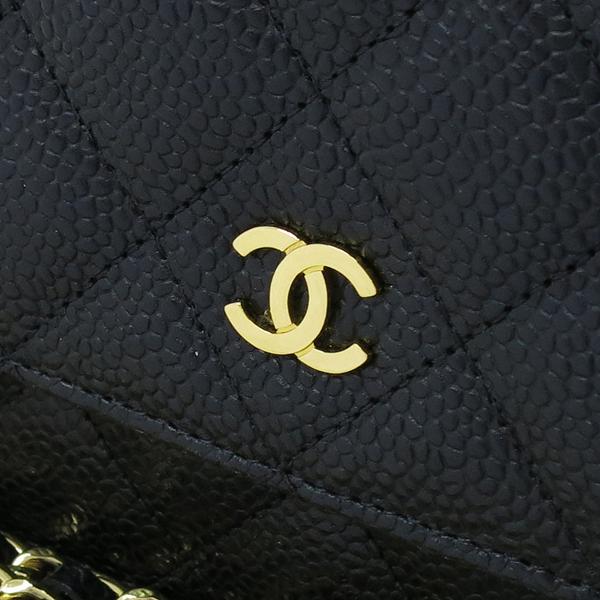 Chanel(샤넬) A33814 Y01864 C3906 캐비어스킨 블랙 컬러 WOC 월릿 온 체인 금장로고 체인 크로스백 [강남본점]