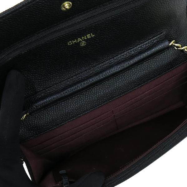 Chanel(샤넬) A33814 Y01864 C3906 캐비어스킨 블랙 컬러 WOC 월릿 온 체인 금장로고 체인 크로스백 [강남본점] 이미지6 - 고이비토 중고명품