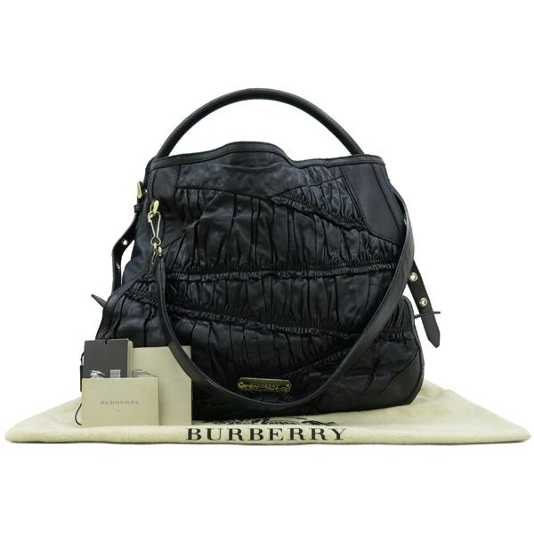 Burberry(버버리) HB37729781 금장 로고 장식 블랙 레더 호보 숄더백 + 스트랩 [강남본점]