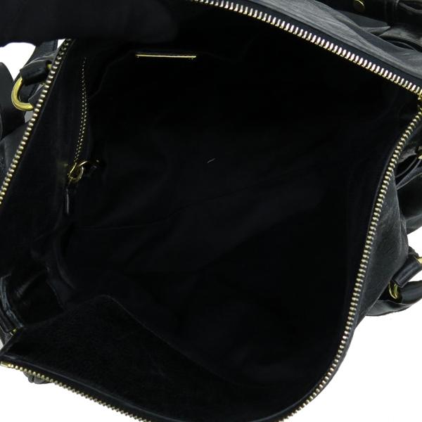 MiuMiu(미우미우) RT0365 VITELLO LUX 블랙 레더 리본 장식 금장 로고 2WAY [강남본점]