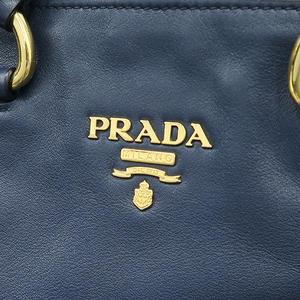 Prada(프라다) BN1713 금장 로고 장식 네이비 레더 토트백 + 숄더 스트랩 2WAY [강남본점] 이미지4 - 고이비토 중고명품