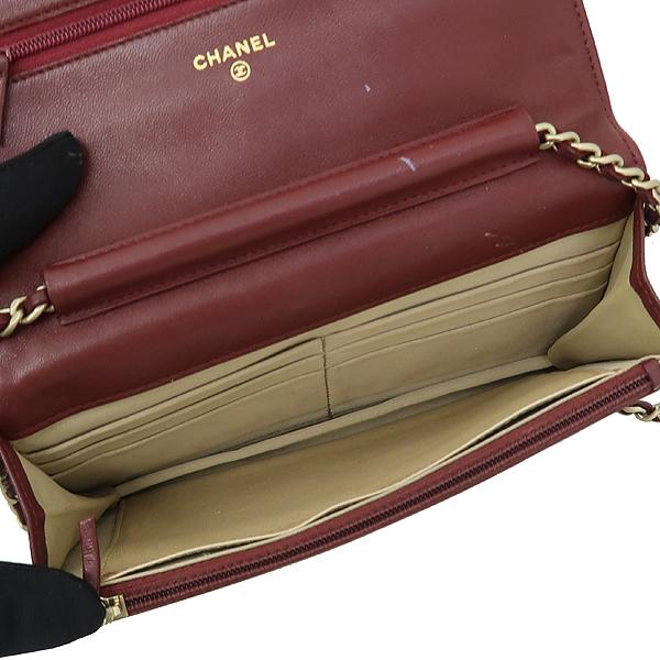 Chanel(샤넬)  A447421 버건디 램스킨 까멜리아 WOC 은장로고 체인 미니 크로스백 [강남본점] 이미지4 - 고이비토 중고명품