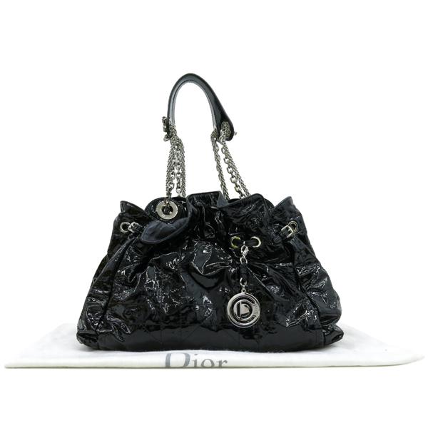 Dior(크리스챤디올) M0104RSR 블랙 페이던트 퀼팅 은장 체인 숄더백 [강남본점]