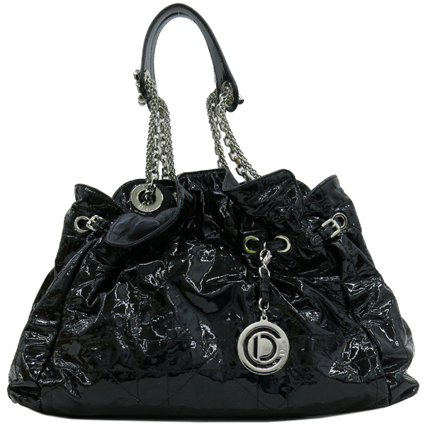 Dior(크리스챤디올) M0104RSR 블랙 페이던트 퀼팅 은장 체인 숄더백 [강남본점] 이미지2 - 고이비토 중고명품