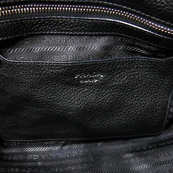 Prada(프라다) 1BB007 VIT.DAINO 블랙레더 은장로고 토트백 + 숄더스트렙 2WAY [인천점] 이미지5 - 고이비토 중고명품