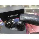 Chanel(샤넬) 블랙 로고 리본 디테일 블랙 선글라스 w