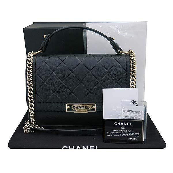 Chanel(샤넬) A93702Y61154  블랙 그레인드 카프스킨 핸들 플랩 2WAY [부산서면롯데점]