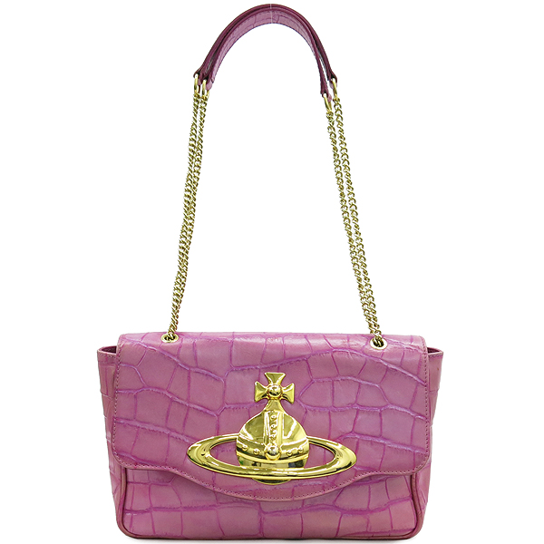 Vivienne_Westwood (비비안웨스트우드) 금장 ORB 장식 핑크 크로커다일 패턴 체인 숄더백 [강남본점]