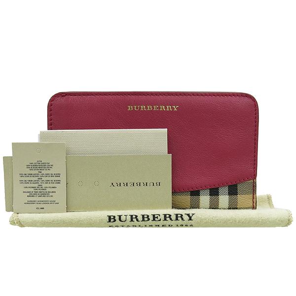 Burberry(버버리) 3942663 COWLEY 체크 PVC 핑크레더혼방 폴더 중지갑 [강남본점]