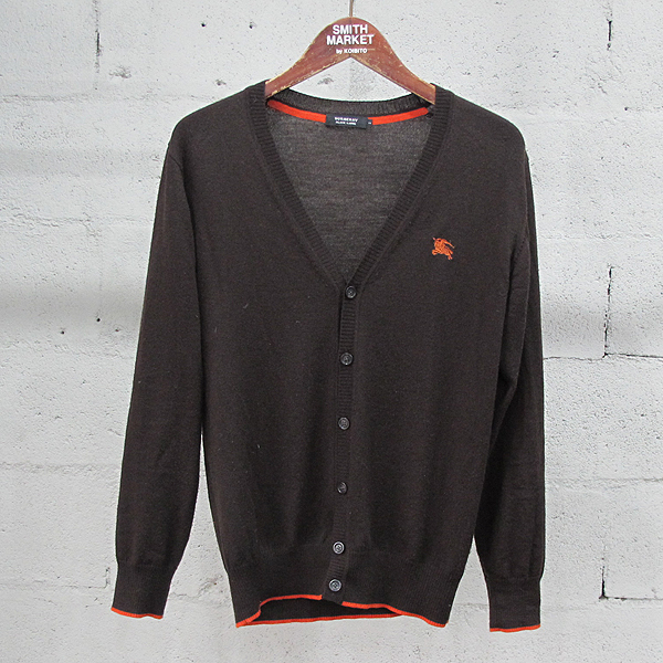 Burberry(버버리) 블랙 라벨 울 100% 브라운 컬러 로고 자수 장식 남성용 가디건 [동대문점]