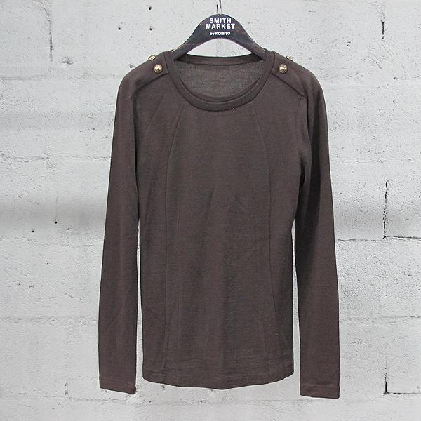 System(시스템) 울 혼방 브라운 컬러 금장 버튼 장식 여성용 티셔츠 [동대문점]