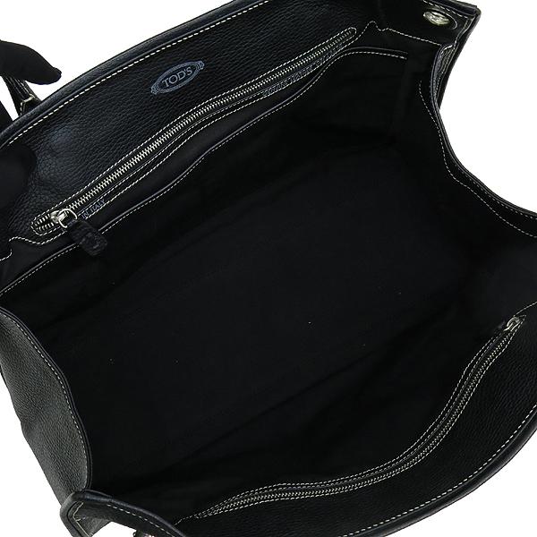 Tod's(토즈) 은장 로고 장식 블랙 레더 토트 겸 숄더백 [강남본점] 이미지5 - 고이비토 중고명품
