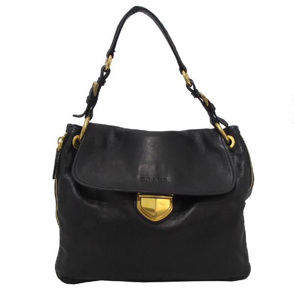 Prada(프라다) BR4761 금장 로고 장식 블랙 레더 여성용 숄더백 [대구반월당본점] 이미지2 - 고이비토 중고명품