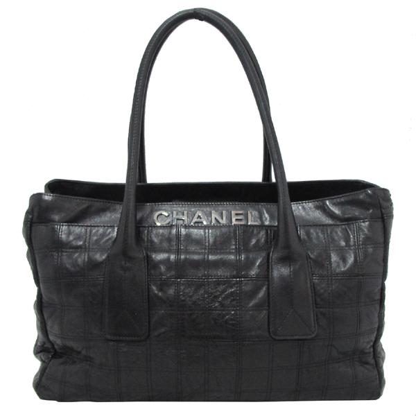 Chanel(샤넬) 은장 로고 장식 블랙 레더 여성용 토트백 [대구반월당본점]
