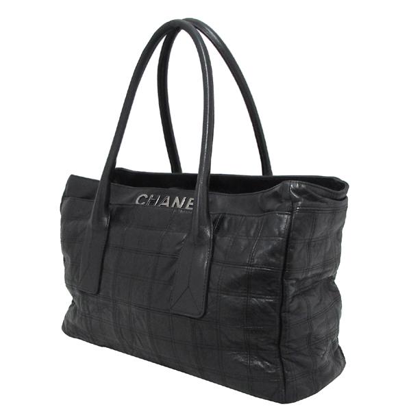 Chanel(샤넬) 은장 로고 장식 블랙 레더 여성용 토트백 [대구반월당본점] 이미지2 - 고이비토 중고명품