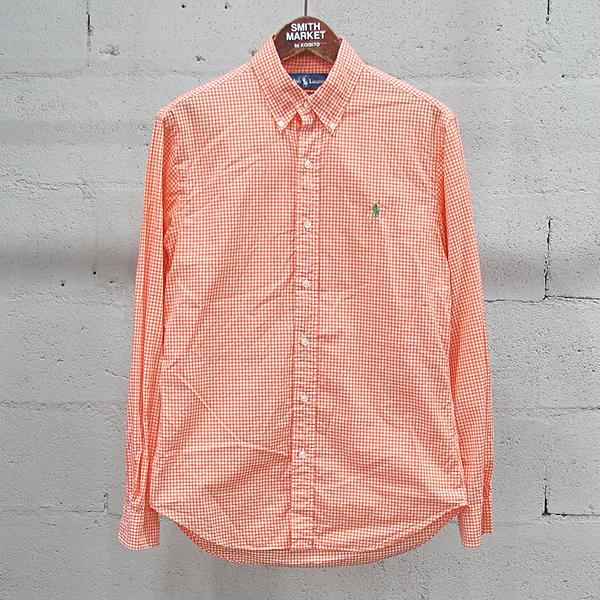 Polo Ralphlauren(폴로) 면 100% 오렌지 컬러 체크 패턴 남성용 셔츠 [동대문점]