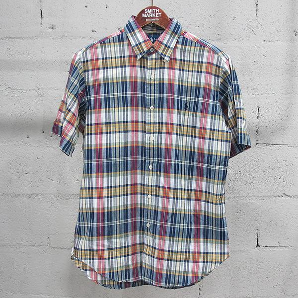 Polo Ralphlauren(폴로) 면 100% 멀티 컬러 체크 패턴 남성용 반팔 셔츠 [동대문점]