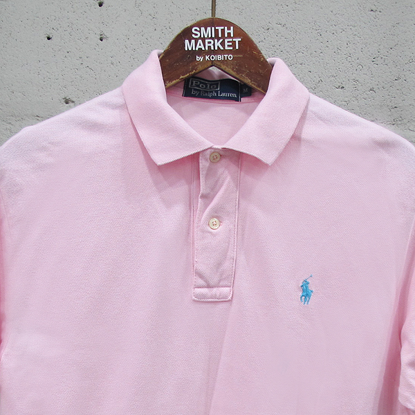 Polo Ralphlauren(폴로) 면 100% 핑크 컬러 자수 로고 장식 남성용 반팔 카라 티 [동대문점]
