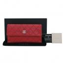 Chanel(샤넬) 레드 컬러 램스킨 아웃스티치 CC로고 장지갑 [부산센텀본점]